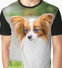 Portrait of a papillon purebreed dog with grass behind Graphic T-Shirt