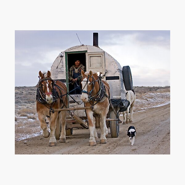 Sheep Wagon, Red Desert, Wy Photographic Print