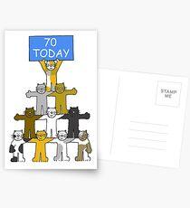 Happy 70th Birthday, Cartoon Cats Postcards
