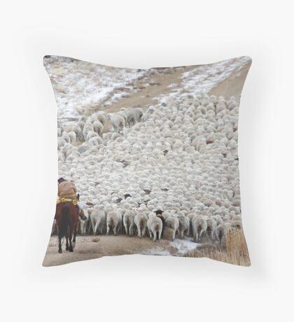Wave of Sheep, Red Desert, Wyoming Throw Pillow