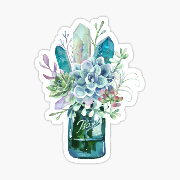 Succulent, crystal, bouquet, crystals, cacti, flowers, ball jar, vase, watercolor Sticker