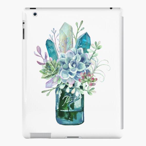 Succulent, crystal, bouquet, crystals, cacti, flowers, ball jar, vase, watercolor iPad Snap Case
