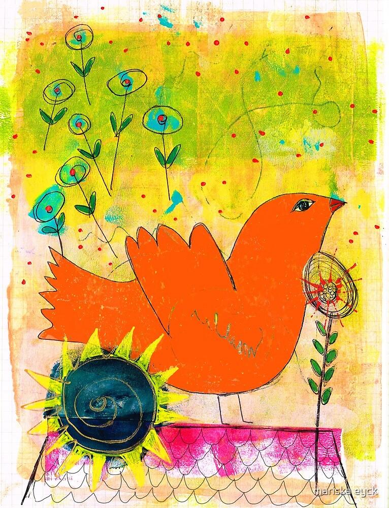 orange bird on a rooftop singing out loud by mariska eyck