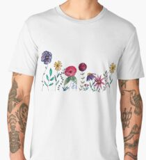 Wild flowers in watercolor Men's Premium T-Shirt