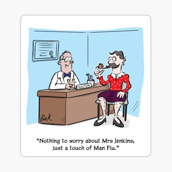 Man Flu cartoon Sticker