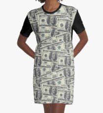 Dollar Bills Texture Graphic T-Shirt Dress