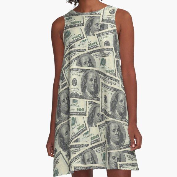 Dollar Bills Texture A-Line Dress