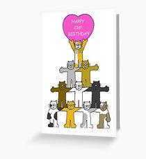 Happy 21st Birthday Cartoon Cats Greeting Card