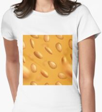 Almond seamless pattern textile Women's Fitted T-Shirt