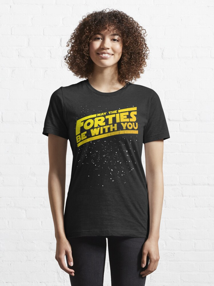 Alternate view of May The Forties Be With You Vintage 40th Birthday Distressed Star Illustration Essential T-Shirt