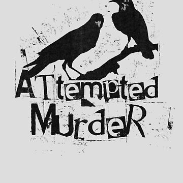 Attempted Murder Crows Collective Noun Pun For Halloween by gorillamerch