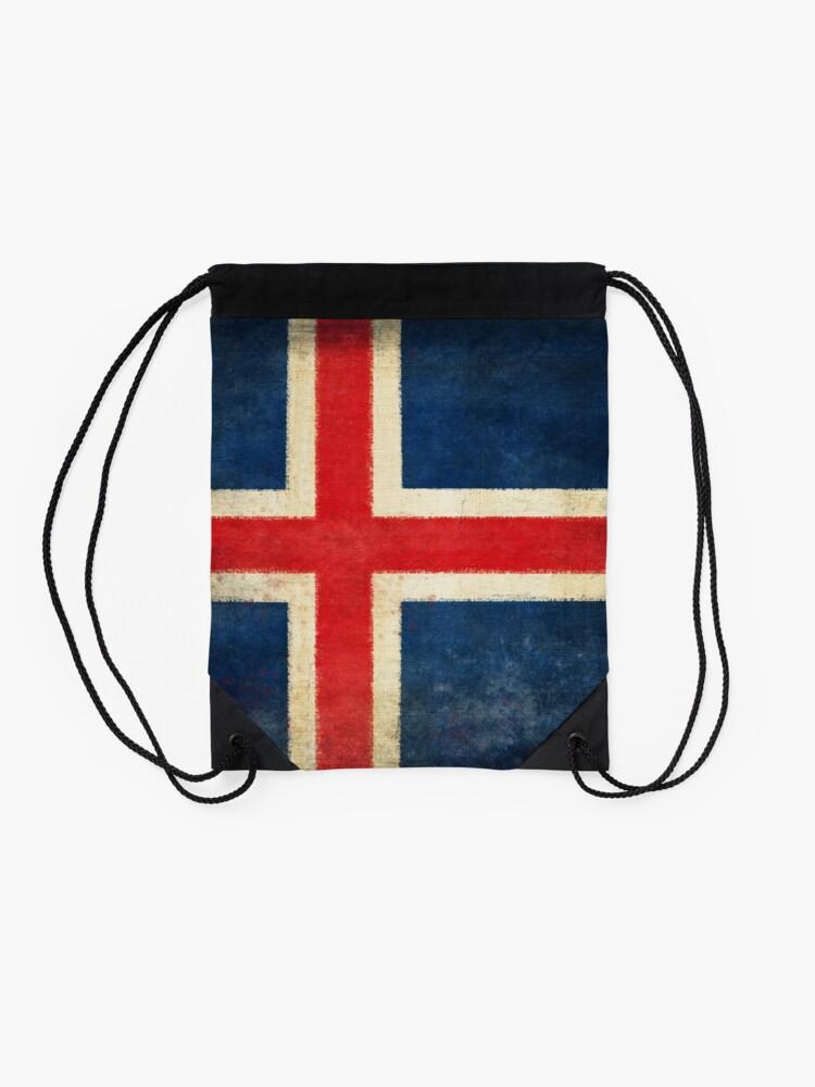 Alternate view of Iceland flag  Drawstring Bag