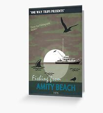 One Way Trips Presents 'Fishing From Amity Beach' Greeting Card