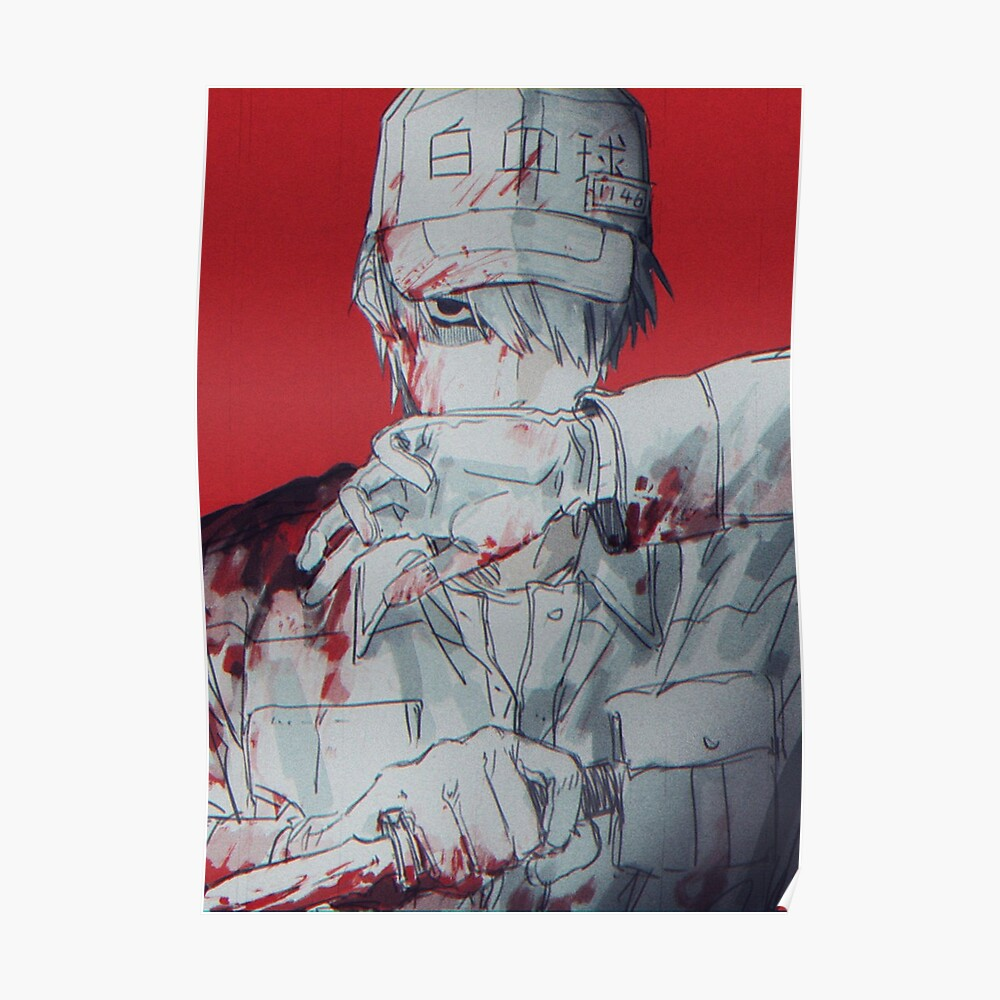 White blood cell hataraku saibou cells at work poster