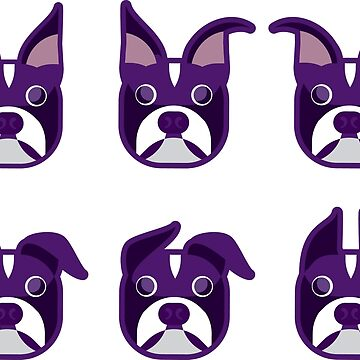 Boston Terrier Various Ears Purple Heads by gstrehlow2011