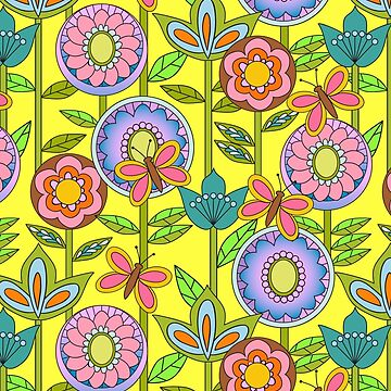 Mod Style 1960s Flower Power in Bright Colors by vinpauld