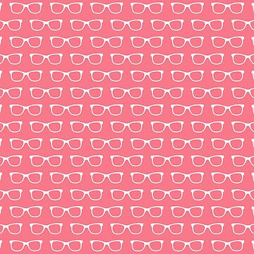 Girly Eyeglasses Pattern in Pink and White by whimseydesigns