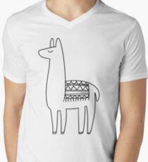 llama black and white minimalistic Men's V-Neck T-Shirt