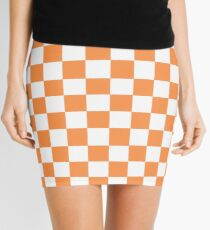 Orange And White Checkered Print Mini Skirt