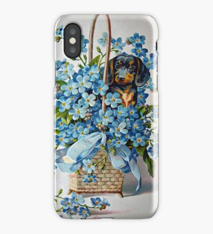 Dachshund and Forget-me-Nots iPhone Case