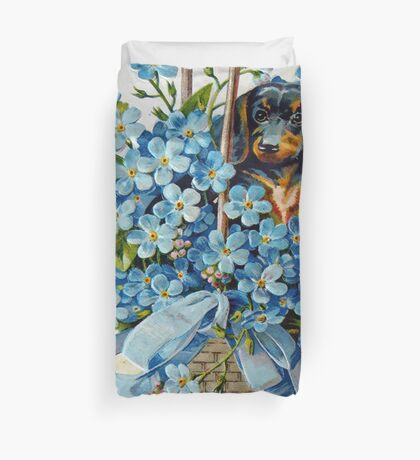 Dachshund and Forget-me-Nots Duvet Cover