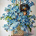 Dachshund and Forget-me-Nots by FrankieCat