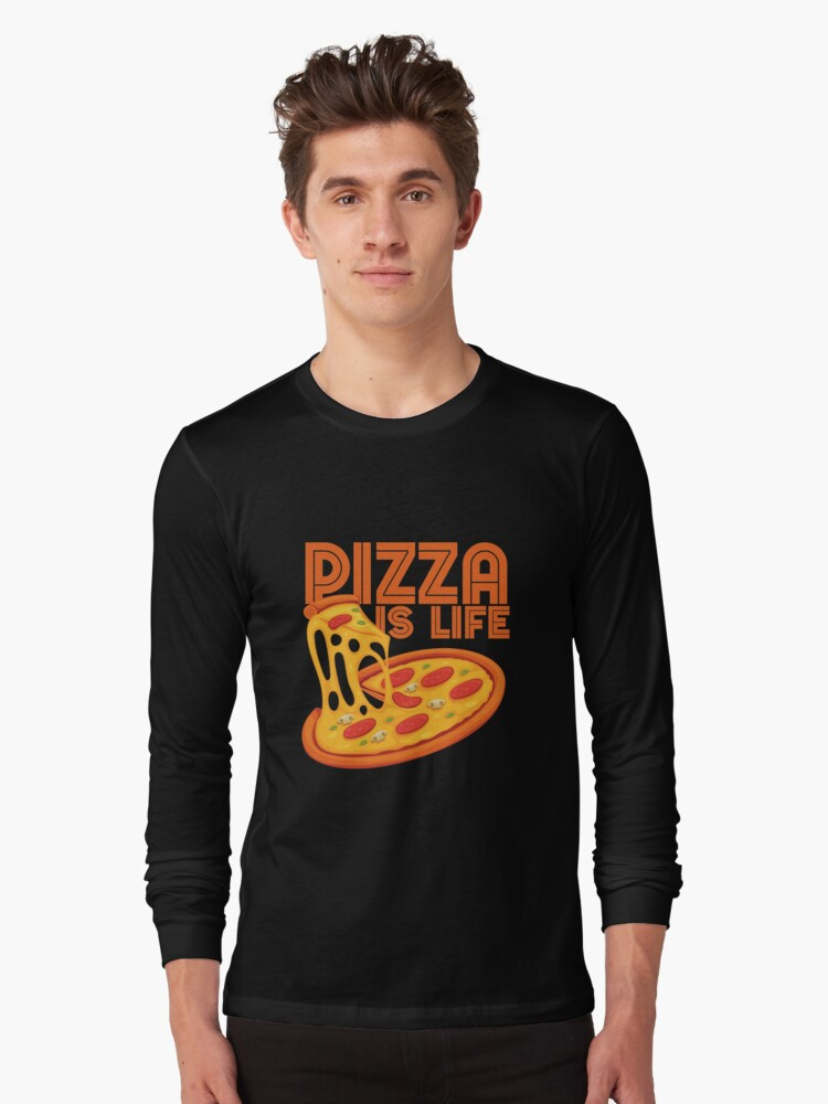 Pizza Is Life, Retro Vintage Pizza Graphic Cute Gift Idea Long Sleeve T-Shirt Front
