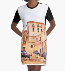 Catanzaro: buildings of the historic center with cars Graphic T-Shirt Dress