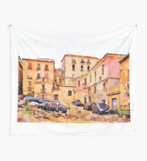 Catanzaro: buildings of the historic center with cars Wall Tapestry