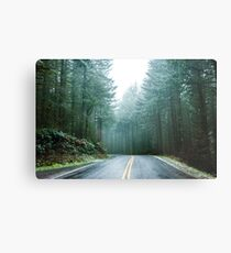 Forest Road Trip - Foggy Day Fir Trees Pacific Northwest Adventure Metal Print
