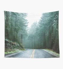 Forest Road Trip - Foggy Day Fir Trees Pacific Northwest Adventure Wall Tapestry