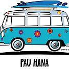 Pau Hana Surfer Van Hippie Bus Teal Side by Frank Schuster