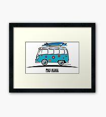 Pau Hana Surfer Van Hippie Bus Teal Side Framed Print