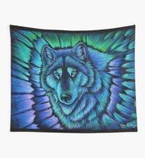 Wolf Aurora Blue Colorful Fantasy Spirit Wall Tapestry