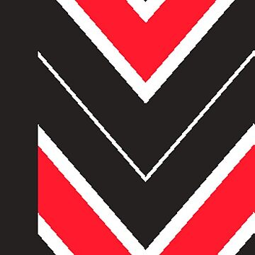 Black and Red Chevron with Borders by CollegeTown
