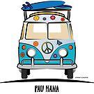 Pau Hana Surfer Van Hippie Bus Teal Front by Frank Schuster