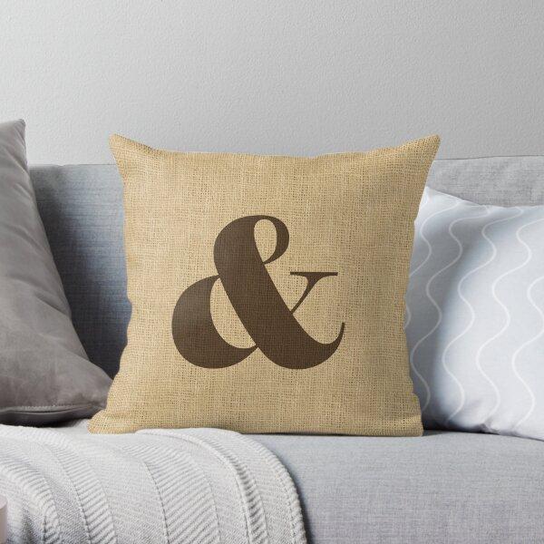 Ampersand Monogram Burlap  Throw Pillow
