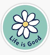 Teal Life is Good Daisy Sticker