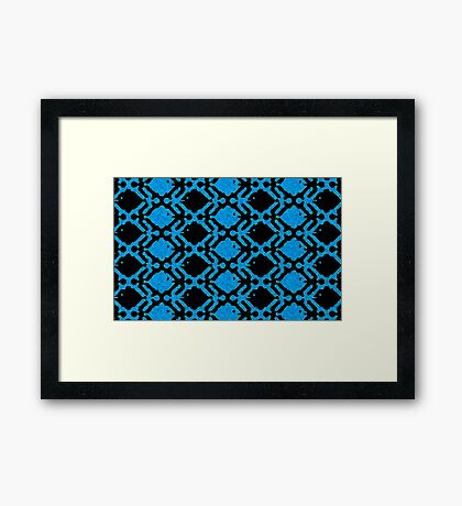 Men Women and Fish Black and Blue Framed Print
