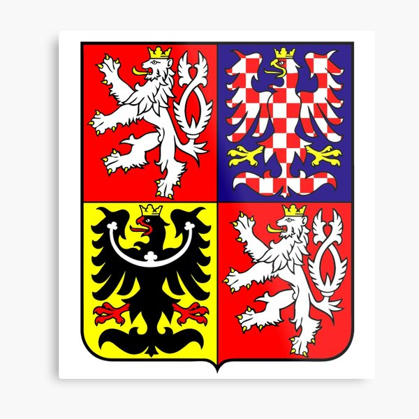 FLAGS AND DEVICES OF THE WORLD - CZECH REPUBLIC COAT OF ARMS Metal Print