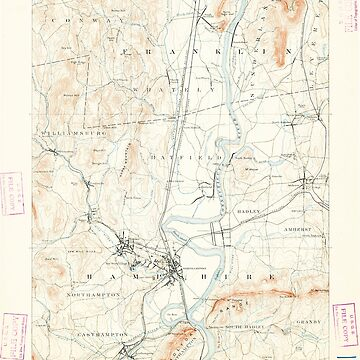 Massachusetts  USGS Historical Topo Map MA Northampton 352899 1891 62500 by wetdryvac