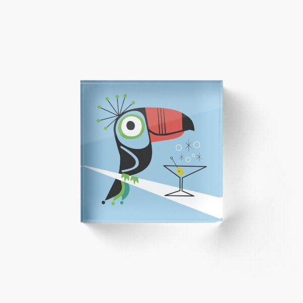 Swank Mid Century Modern Toucan Tiki Bird With Martini Acrylic Block