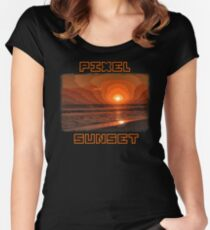 PIXEL SUNSET sunset Women's Fitted Scoop T-Shirt