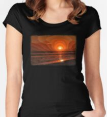 PIXEL SUNSET by the sea Women's Fitted Scoop T-Shirt