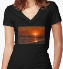 PIXEL SUNSET by the sea Women's Fitted V-Neck T-Shirt