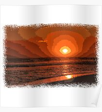 PIXEL SUNSET by the sea Poster