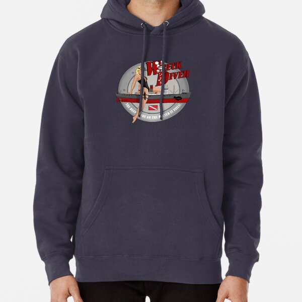 Retro Pin-up Wreck Diver  Pullover Hoodie