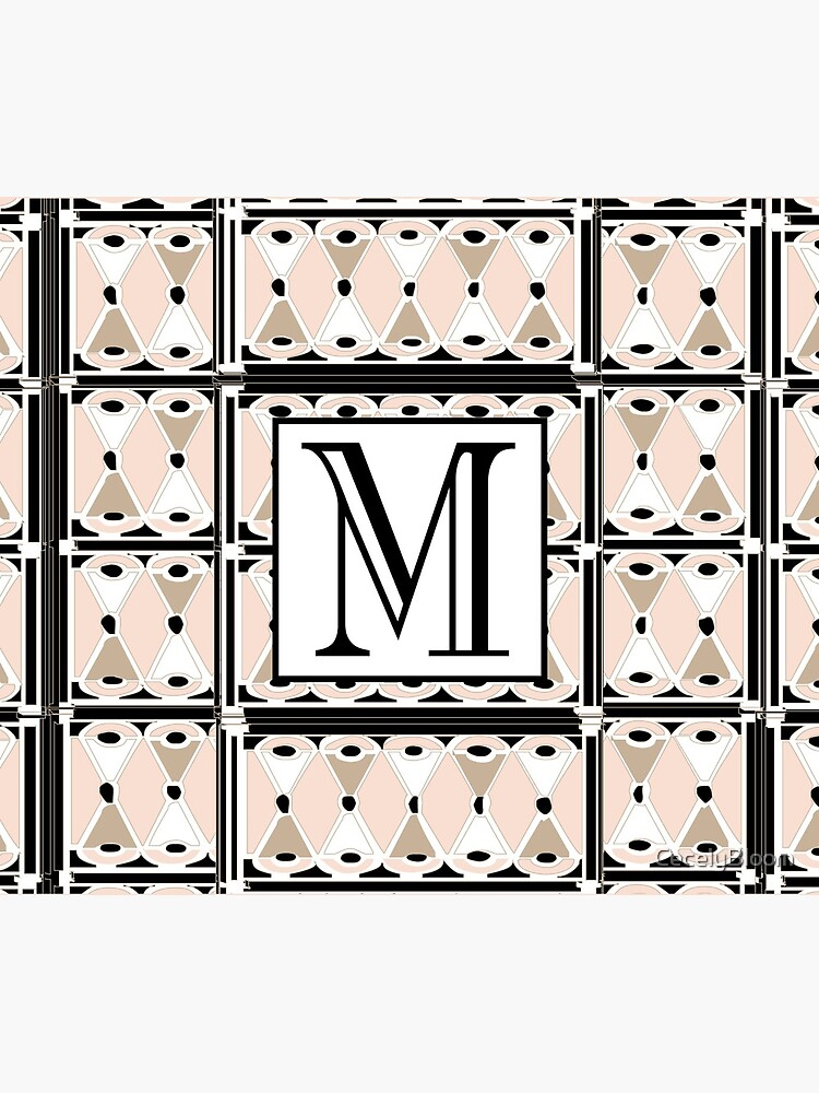 1920s Pink Champagne Deco Monogram letter M by CecelyBloom