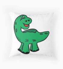 Green dino dinosaur Throw Pillow