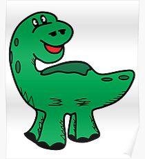 Green dino dinosaur Poster